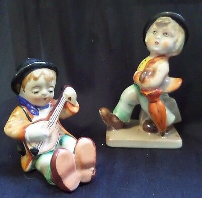 Lot of 2 VINTAGE BOY WITH BANJO AND BOY WITH UMBRELLA - Made in Japan