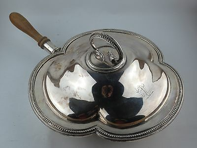 Antique English Sheffield SILVER serving dish lid wood handle SCORPION ARMORIAL