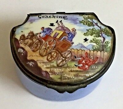 Antique Enamel Snuff Box Battersea or Samson Coaching Accident 18thc style