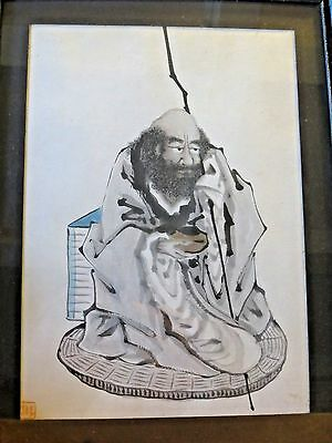 Antique Japanese Ink Wash drawing on paper Bodhidharma DARUMA artists seal stamp