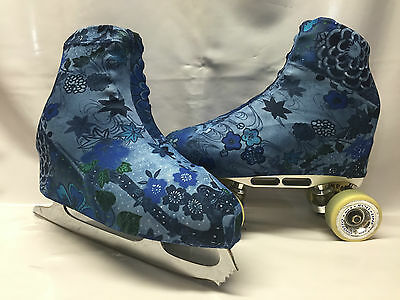Denim Floral Boot Covers for RollerSkates and Ice Skates