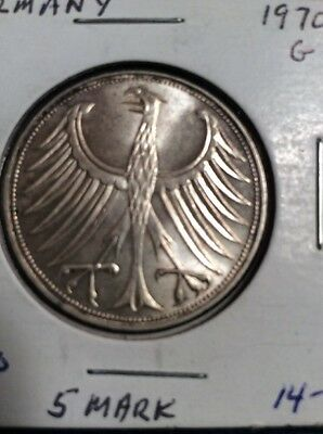 Germany 1970 G 5 Mark Silver Coin