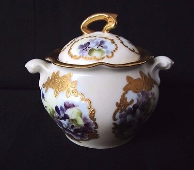 RS Germany Sugar Bowl with Violets ~ Green Mark ~ Signed ~ Heavy Gold Decor