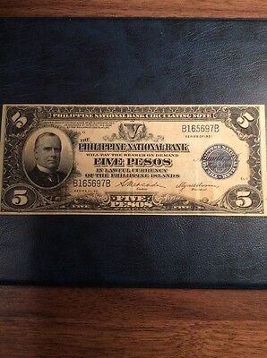 Philippines 5 Peso Banknote 1921