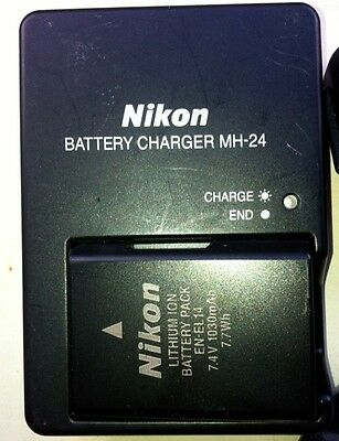 Nikon Genuine battery  EN-EL14 + matching charger MH-24 + cables and bits left