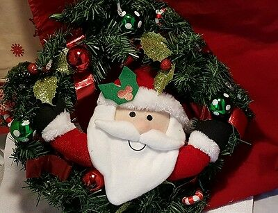 """Recordable Light-Up Holiday Santa  Claus 14"""" Wreath NEW IN BOX ~ Lights /Sound"""