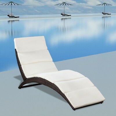 #Foldable Wicker Rattan Outdoor Sun Lounger Steel Frame Cushion Pool Garden Brow