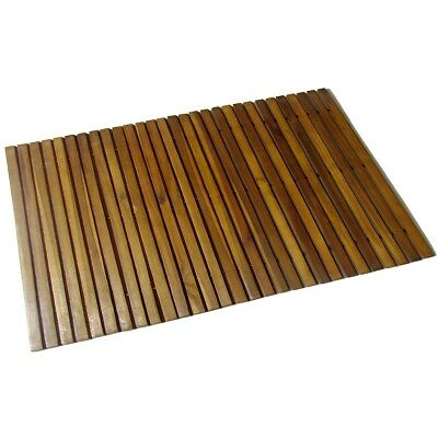 #Bath Floor Mat Acacia Wood Shower Bathroom Gym Pool Spa Flooring Board 800x500m