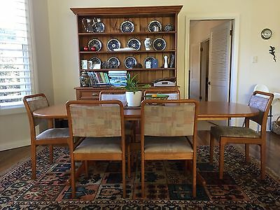 Tasmanian Oak Wooden Extendable Dining Table And Chairs