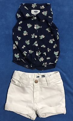 Old navy Toddler Girl Shirt & Shorts Outfit Size 18-24 Months