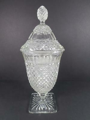 Vintage Anchor Hocking Crystal Miss America Covered Candy Jar (#53-5)