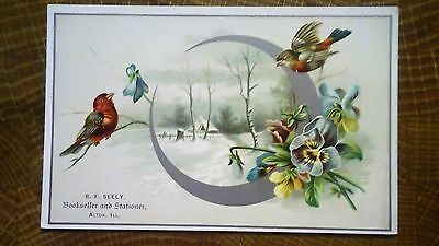 R. F. Seely  Bookseller & Stationer  Alton Illinois Victorian Trade Card