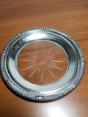Vintage Frank Whiting & Co Sterling Silver Crystal Wine Coaster