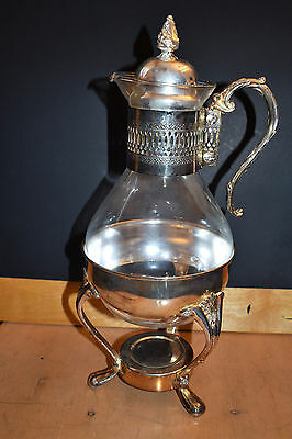 Vintage 3 piece Coffee Decanter / Warmer - Glass and Silver Plate