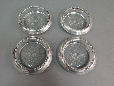 Lot of 4 Antique Vintage B-I Sterling Silver and Glass Coasters