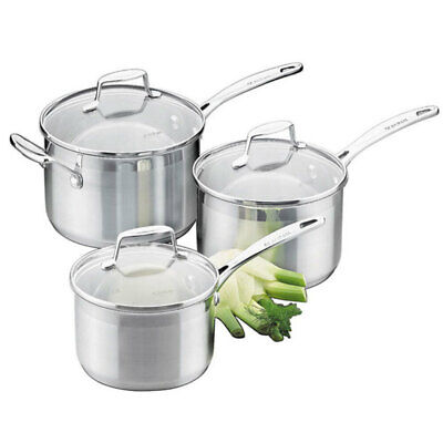 Scanpan Impact 3PC Saucepan Set Stainless Steel Induction Kitchen Cookware
