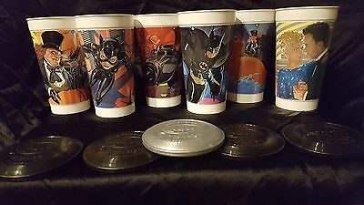 1992 Batman Returns lot of 6 Plastic cups with Frisbee Batdiscs McDonald's promo