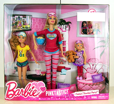 Barbie Pink Tastic Sisters Slumber Party Fun in Doll-Able Pajamas with 3 Dolls
