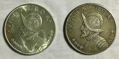 Lot Of 2 Panama Balboas 1931 and 1947 High Grade Coins