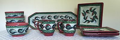 Gail Pittman SIGNED Set of 13 Bowls Mugs Plates Platter Farm Bureau LOT Red Blue