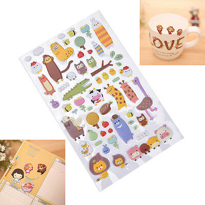 1 Sheet 3D Puffy Bubble Stickers Scrapbook Cartoon Birthday Gift Collection MOAU