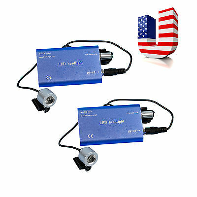 US! 2* Blue Battery Dental Surgical LED Head Light Lamp For Magnifier Loupes