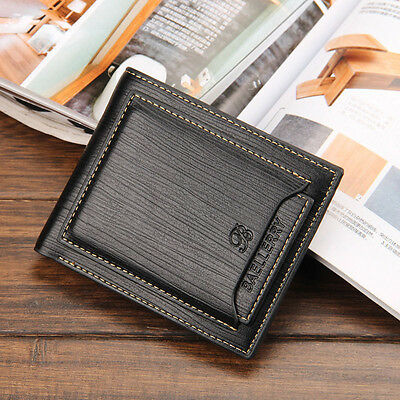 New Men's Leather Money Clip Slim Wallets Black ID Credit Card Holder US