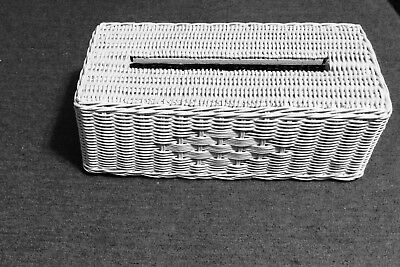Vintage Shabby painted white solid chic Wicker Rare low tissue box cover
