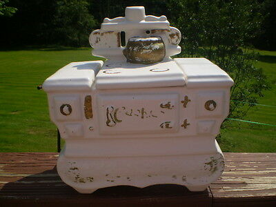 "WHITE  ""COOKSTOVE"" COOKIE JAR  MADE IN USA BY McCOY POTTERY COMPANY"