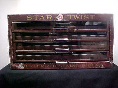 "Antique "" STAR TWIST"" American Thread Co. Display Cabinet"