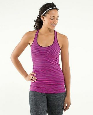 Lululemon Tank Top Size 6 Striped Hyper Pink Purple Racerback Yoga Dance Fitness
