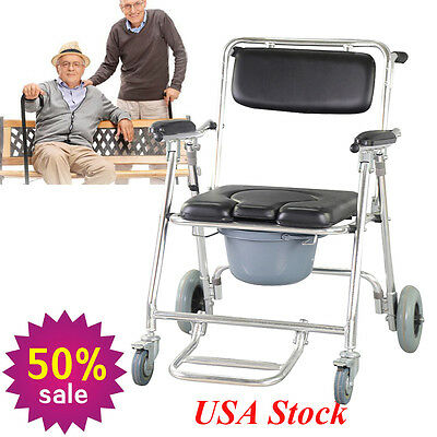 Transport Bedside Commode Toilet Bathroom Shower Wheelchair Disability Safety