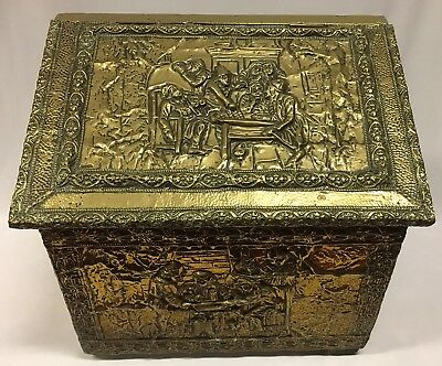 Antique/Vintage Brass Fire Wood Box with 4 Embossed Panels of Different Scenes