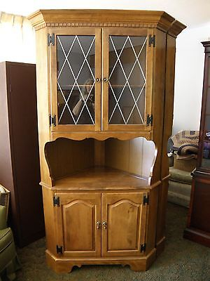 Ethan Allen Solid Maple Corner China Cabinet Style #10-6046