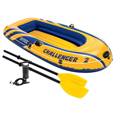 Intex Challenger 2, 2-Person Inflatable Boat Set with French Oars and High Outpu