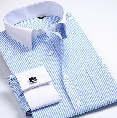 French Cuff Men's Formal White Business Leisure shirts Designer Italian MT340