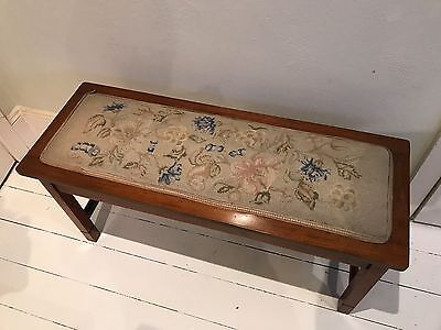 Vintage embroidered needlepoint piano cover and bench