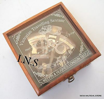 Nautical Maritime Antique Brass Sextant Vintage Marine Ship Instrument w/ box