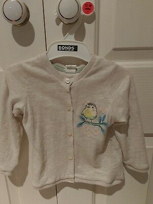 Cardigan baby girl size 1 12-18month white bird birthday outfit flowers