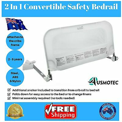 2 In 1 Bedrail Convertible Baby Child Safety Crib Toddler Protection Guard