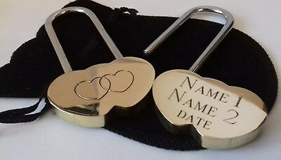 Engraved 40mm Love Lock - Padlock with FREE VELVET GIFT POUCH wedding engagement