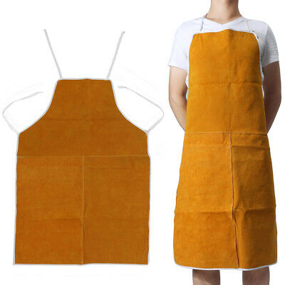 Cow Leather Welders Aprons Welding Heat Insulation Protection Blacksmith 93x64cm