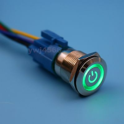 19mm Blue Metal 12V LED Momentary 5Pin Push Button Switch With Socket