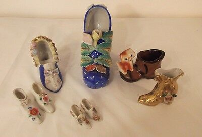 Vintage lot of 8 Japan Porcelain&Glass High Heel Shoes to Boots Various Sizes
