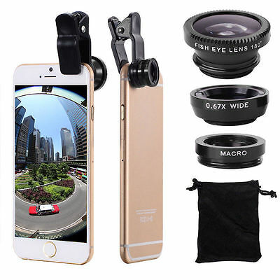 Universal Black 3in1 Clip Lens On Camera Kit Wide Angle Fish Eye iPhone Samsung)