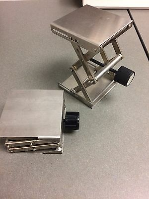 2 used 3x3 Inch American Scientific Products Lab Jack Platforms