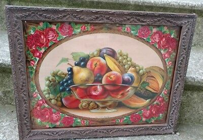 "Antique Vintage  Gesso Wood Picture Frame with Glass & Fruit Pic Fits 12"" x 16"""