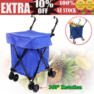 Convenient Shopping Cart Trolley Bag Foldable Bags Luggage Wheels Folding Basket