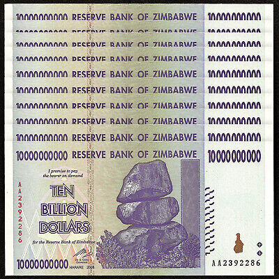 ZIMBABWE 10 Billion Dollars X 10 PCS 2008 P-85 Trillion Series 1/10 Bundle UNC
