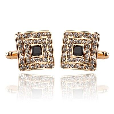 Mens New Gold Plated Pair of Cufflinks Austrian Crystal Clear Wedding Gift Bag